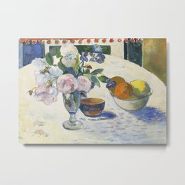 Flowers and a Bowl of Fruit on a Table Metal Print
