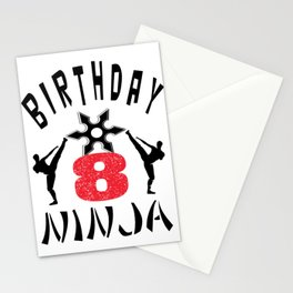 Kids Ninja 8th B-Day Gifts for Boys And Girls Stationery Cards