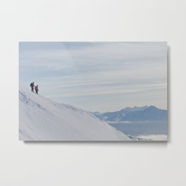 Skiers at Hatcher Pass Metal Print