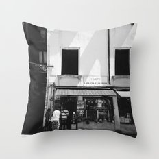 Window shopping in Venice Throw Pillow