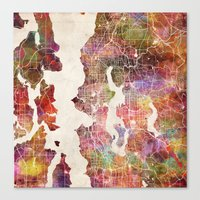 seattle Canvas Prints featuring Seattle by MapMapMaps.Watercolors