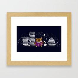 Owl Night Reader Framed Art Print