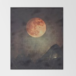 Moon over Dark Mountains Throw Blanket