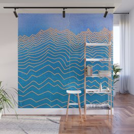 Abstract mountain line art in blue sky grunge textured vintage illustration background Wall Mural