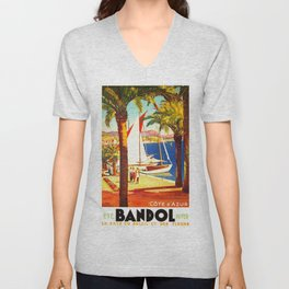 Vintage Bandol France Travel Poster Unisex V-Neck