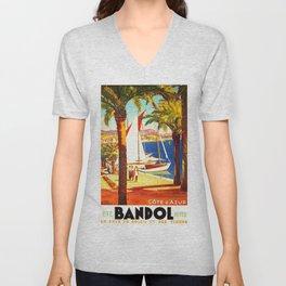 Vintage Bandol France Travel Poster Unisex V-Neck