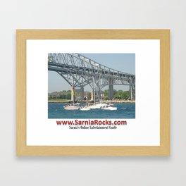 Boating under Bluewater Bridges Framed Art Print