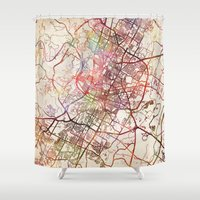 austin Shower Curtains featuring Austin by MapMapMaps.Watercolors