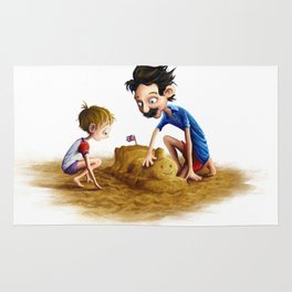 Father and Son at the Beach Rug