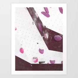 Geometric abstract free climbing bouldering holds pink purple Art Print