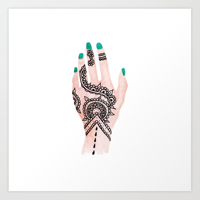 Modern Henna Tattoo: Modern Watercolor Hand Floral Henna Tattoo Turquoise Nails