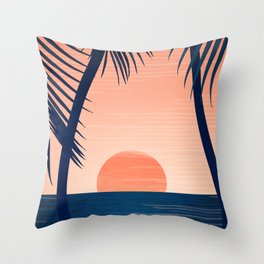 Sunset Palms - Peach Navy Palette Throw Pillow