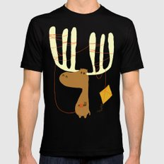 A moose ing Black Mens Fitted Tee LARGE