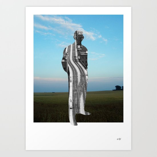 City Man´s Dream Collage Art Print