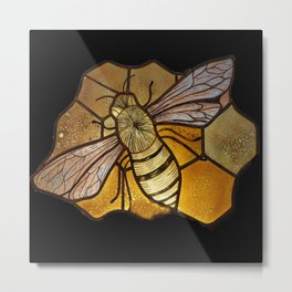 Stained Glass Hand Painted Bee. Metal Print