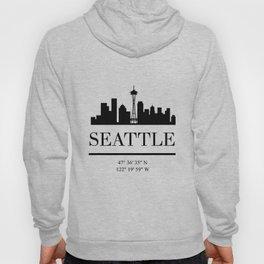 SEATTLE WASHINGTON BLACK SILHOUETTE SKYLINE ART Hoody