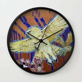 Terror - Pale Yellow Snowy Owls and Famous cartoon Mice Wall Clock