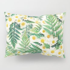 Textured Vintage Daisy and Fern Pattern  Pillow Sham