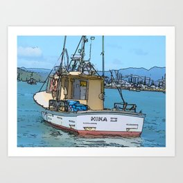 Fishing boat at Whitianga, NZ Art Print