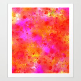 Watercolor Painting Bright Red & Summer Pink Abstract Paint Splashes Art Print