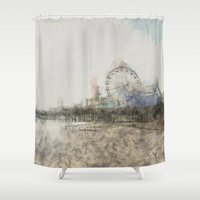 santa monica Shower Curtains featuring Scribbled Santa Monica Pier by Christine aka stine1