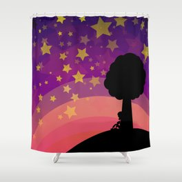 Kid looking to the sky in the late evening Shower Curtain