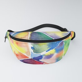 Geometric abstraction. Multicolor triangles. A kaleidoscope of shards, edges Watercolor hand-drawn. Fanny Pack