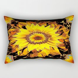 Western Sunflowers in Old Gold, Brown's & Black Art Design Rectangular Pillow