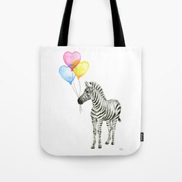 Zebra Watercolor With Heart Shaped Balloons Tote Bag