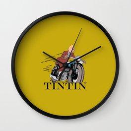 Tintin racing gold Wall Clock