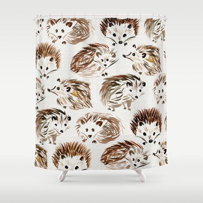 Hedgehogs Shower Curtain By Catcoq