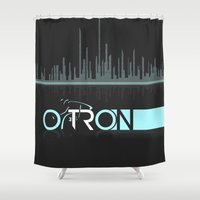 tron Shower Curtains featuring Tron Minimalist by Ed Burczyk