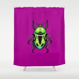 Green Fiddler Beetle Shower Curtain
