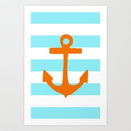 Orange Nautical Stripe Art Print