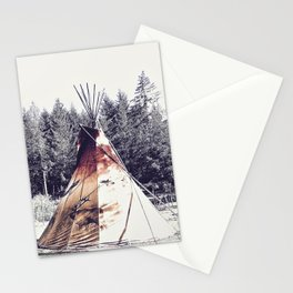 Tipi With Painted Elk And Birds Stationery Cards