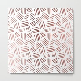 Elegant faux rose gold modern geometric stripes Metal Print