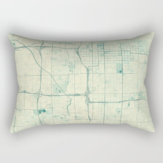 Salt Lake City Map Blue Vintage Rectangular Pillow