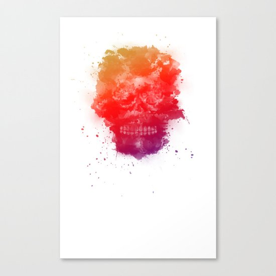 Rainbow Splatter Skull Canvas Print
