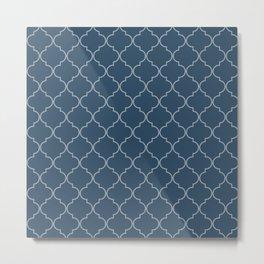 Sailor Blue Quatrefoil Metal Print