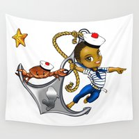 marine Wall Tapestries featuring Marine by Andre auguste-charlery