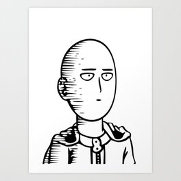 Onepunchman Pokerface line art Art Print