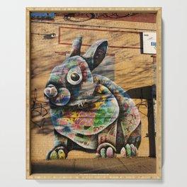 Bunny Rabbit Graffiti Art Serving Tray