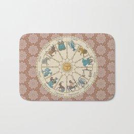 Vintage Astrology Zodiac terracotta Bath Mat