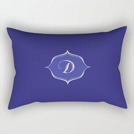D Monogram Royal Blue Rectangular Pillow