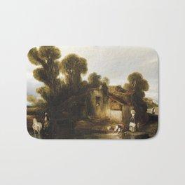 Alexander Gabriel Decamps (Paris 1803-1860 Fontainebleau)  washerwomen on the outskirts Bath Mat
