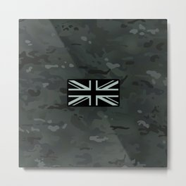 British Flag: Black Camouflage Metal Print