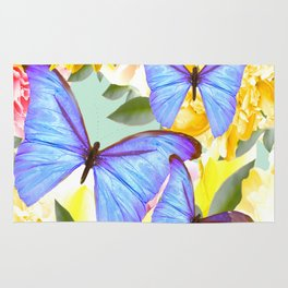 Bright Blue Butterflies Yellow Flowers #decor #society6 #buyart Rug