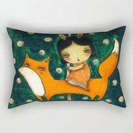 Riding My Fox Rectangular Pillow
