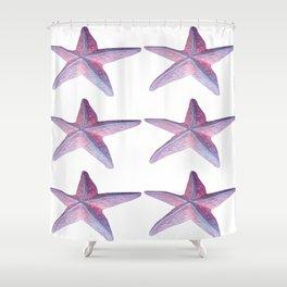 Pink Sea Stars in Six by Aloha Kea Photography Shower Curtain