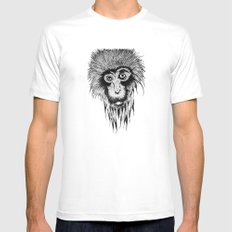 Monkey White Mens Fitted Tee MEDIUM